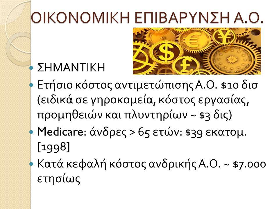ΟΙΚΟΝΟΜΙΚΗ ΕΠΙΒΑΡΥΝΣΗ Α. Ο. ΣΗΜΑΝΤΙΚΗ Ετήσιο κόστος αντιμετώπισης Α. Ο. $10 δισ ( ειδικά σε γηροκομεία, κόστος εργασίας, προμηθειών και πλυντηρίων ~ $