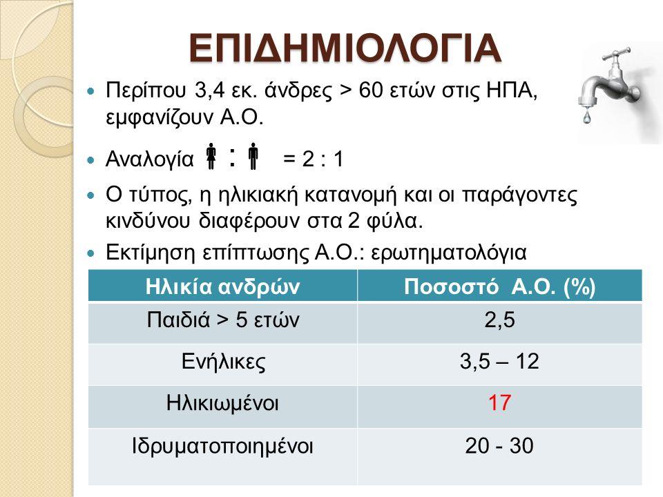 ΕΠΙΔΗΜΙΟΛΟΓΙΑ Προδιαθεσικοί παράγοντες κινδύνου Α.Ο: προχωρημένη ηλικία (συν-νοσηρότητα) παρουσία συμπτωμάτων LUTS ουρολοιμώξεις νευρολογικές παθήσεις (Parkinson, MS, Τραύμα ΝΜ) διανοητικές διαταραχές (άνοια) προστατεκτομή (ριζική ή αδενωματεκτομή).