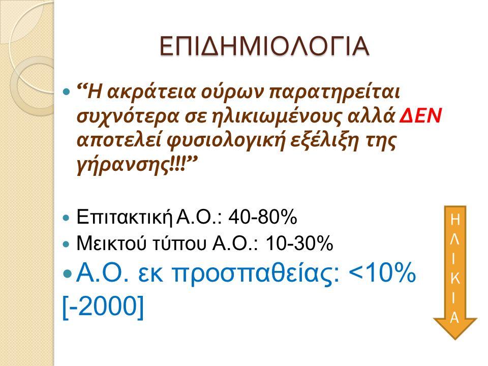 ΕΠΙΔΗΜΙΟΛΟΓΙΑ Η ακράτεια ούρων παρατηρείται συχνότερα σε ηλικιωμένους αλλά ΔΕΝ αποτελεί φυσιολογική εξέλιξη της γήρανσης !!! Επιτακτική Α.Ο.: 40-80% Μεικτού τύπου Α.Ο.: 10-30% Α.Ο.