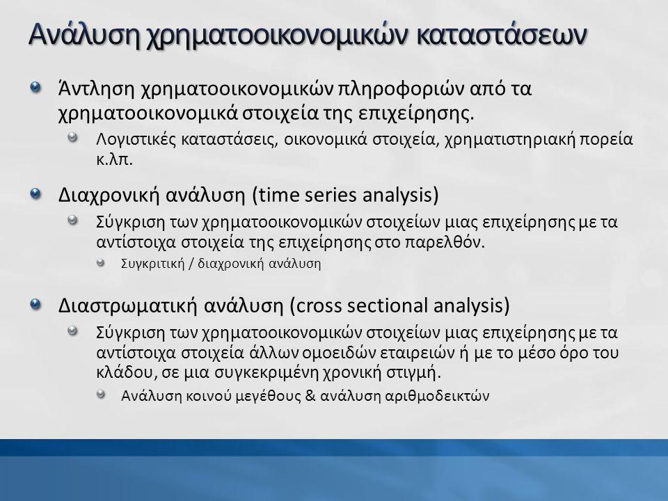 Άντληση χρηματοοικονομικών πληροφοριών από τα χρηματοοικονομικά στοιχεία της επιχείρησης.