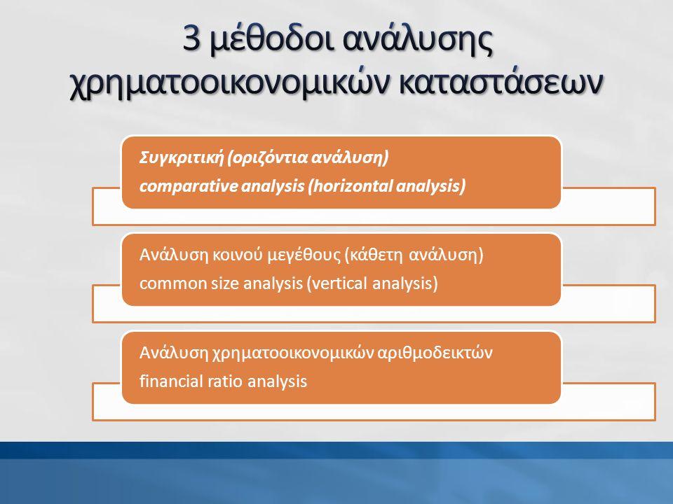 Συγκριτική (οριζόντια ανάλυση) comparative analysis (horizontal analysis) Ανάλυση κοινού μεγέθους (κάθετη ανάλυση) common size analysis (vertical analysis) Ανάλυση χρηματοοικονομικών αριθμοδεικτών financial ratio analysis