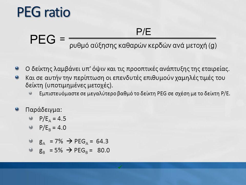 P EG ratio Ο δείκτης λαμβάνει υπ' όψιν και τις προοπτικές ανάπτυξης της εταιρείας. Και σε αυτήν την περίπτωση οι επενδυτές επιθυμούν χαμηλές τιμές του