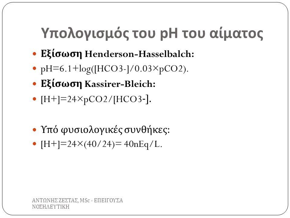 Ορισμοί Οξυαιμία : Ελάττωση του pH του αίματος σε τιμές <7.35.