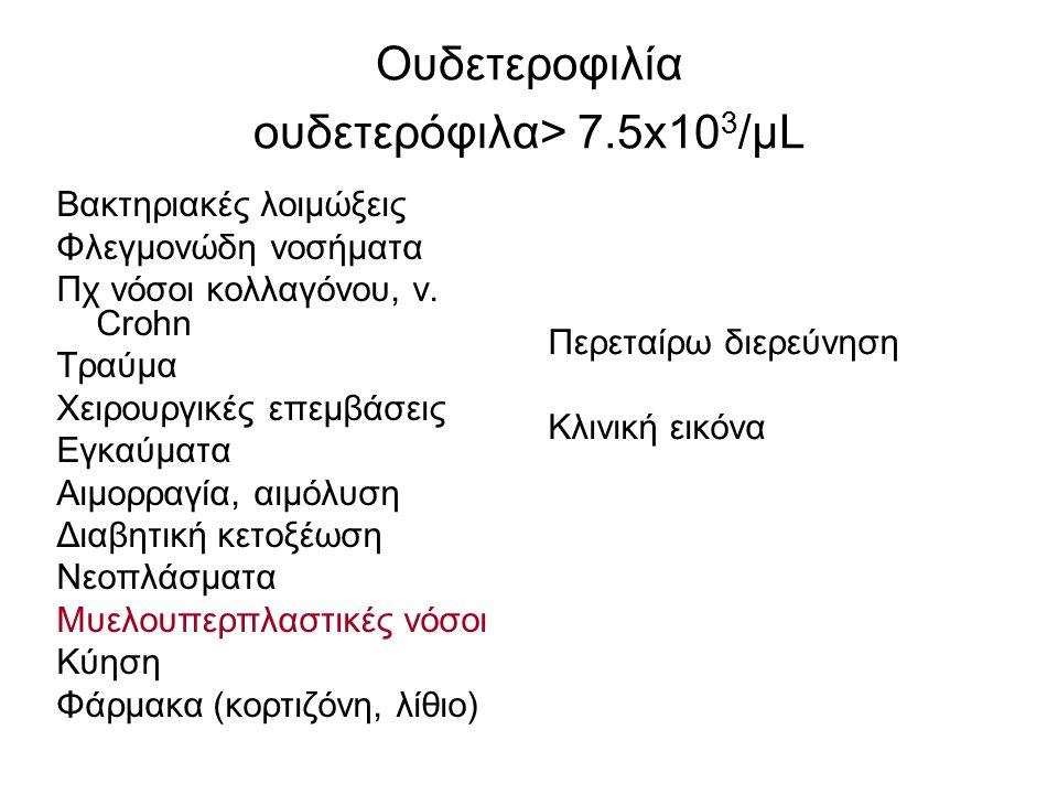 Ουδετεροφιλία ουδετερόφιλα> 7.5x10 3 /μL Βακτηριακές λοιμώξεις Φλεγμονώδη νοσήματα Πχ νόσοι κολλαγόνου, ν. Crohn Τραύμα Χειρουργικές επεμβάσεις Εγκαύμ