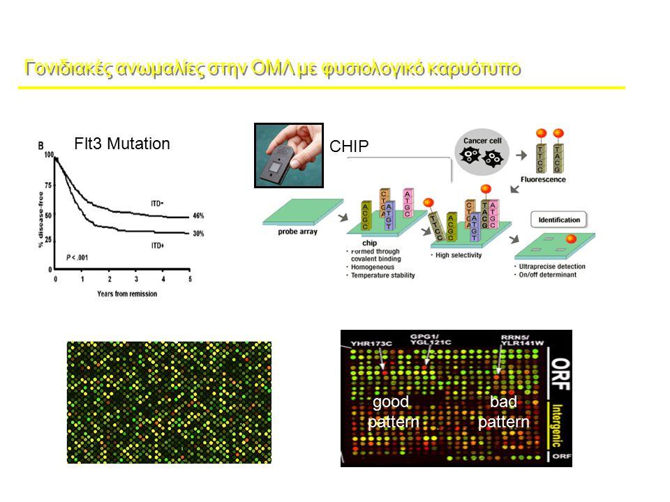 Γονιδιακές ανωμαλίες στην ΟΜΛ με φυσιολογικό καρυότυπο Flt3 Mutation Ελεγχος ενός γονιδίου Ελεγχος πολλών γονιδίου CHIP microarray analysis expression