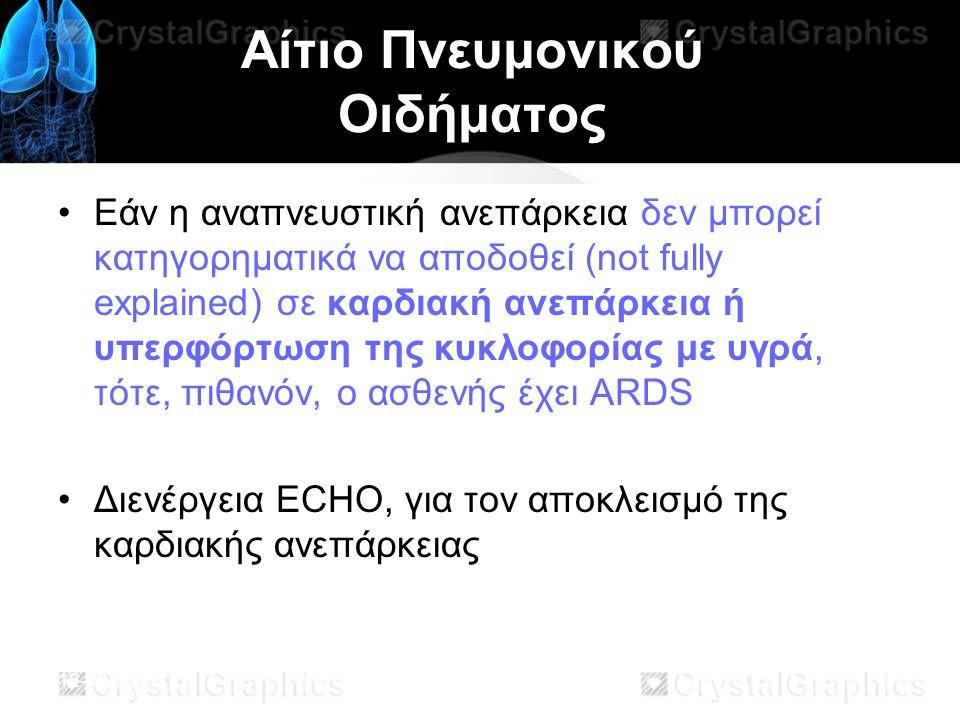 12-03-2013 Αίτιο Πνευμονικού Οιδήματος Εάν η αναπνευστική ανεπάρκεια δεν μπορεί κατηγορηματικά να αποδοθεί (not fully explained) σε καρδιακή ανεπάρκεια ή υπερφόρτωση της κυκλοφορίας με υγρά, τότε, πιθανόν, ο ασθενής έχει ARDS Διενέργεια ECHO, για τον αποκλεισμό της καρδιακής ανεπάρκειας