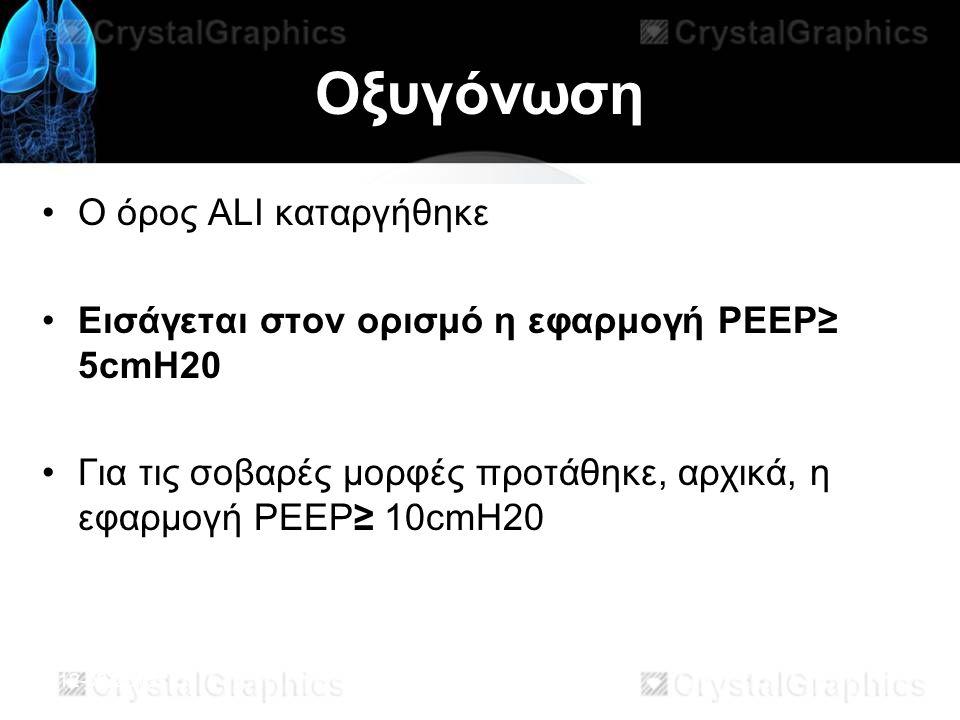 Οξυγόνωση Ο όρος ALI καταργήθηκε Εισάγεται στον ορισμό η εφαρμογή PEEP≥ 5cmH20 Για τις σοβαρές μορφές προτάθηκε, αρχικά, η εφαρμογή PEEP≥ 10cmH20