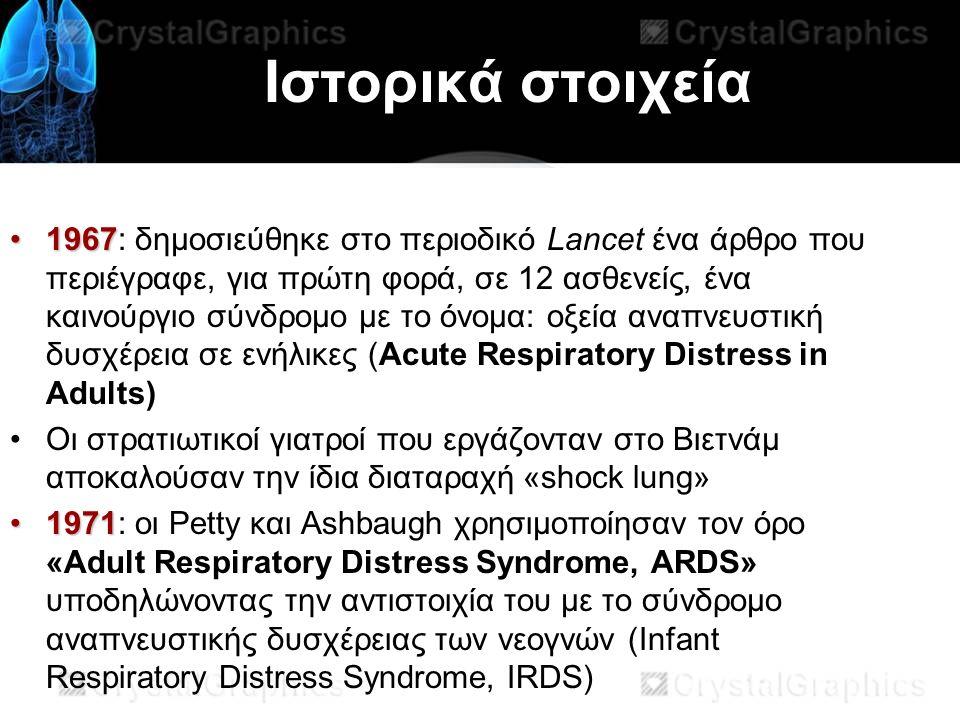 Ιστορικά στοιχεία 19671967: δημοσιεύθηκε στο περιοδικό Lancet ένα άρθρο που περιέγραφε, για πρώτη φορά, σε 12 ασθενείς, ένα καινούργιο σύνδρομο με το όνομα: οξεία αναπνευστική δυσχέρεια σε ενήλικες (Acute Respiratory Distress in Adults) Οι στρατιωτικοί γιατροί που εργάζονταν στο Βιετνάμ αποκαλούσαν την ίδια διαταραχή «shock lung» 19711971: οι Petty και Ashbaugh χρησιμοποίησαν τον όρο «Adult Respiratory Distress Syndrome, ARDS» υποδηλώνοντας την αντιστοιχία του με το σύνδρομο αναπνευστικής δυσχέρειας των νεογνών (Infant Respiratory Distress Syndrome, IRDS)