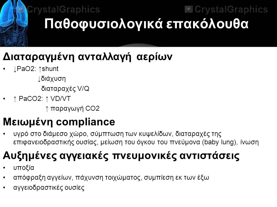 Παθοφυσιολογικά επακόλουθα Διαταραγμένη ανταλλαγή αερίων ↓PaO2: ↑shunt ↓διάχυση διαταραχές V/Q ↑ PaCO2: ↑ VD/VT ↑ παραγωγή CO2 Μειωμένη compliance υγρό στο διάμεσο χώρο, σύμπτωση των κυψελίδων, διαταραχές της επιφανειοδραστικής ουσίας, μείωση του όγκου του πνεύμονα (baby lung), ίνωση Αυξημένες αγγειακές πνευμονικές αντιστάσεις υποξία απόφραξη αγγείων, πάχυνση τοιχώματος, συμπίεση εκ των έξω αγγειοδραστικές ουσίες