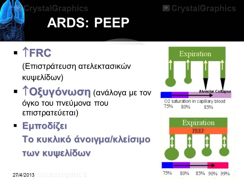 27/4/2013 ARDS: ΡΕΕΡ   FRC (Επιστράτευση ατελεκτασικών κυψελίδων)   Οξυγόνωση   Οξυγόνωση (ανάλογα με τον όγκο του πνεύμονα που επιστρατεύεται)  Εμποδίζει Το κυκλικό άνοιγμα/κλείσιμο των κυψελίδων