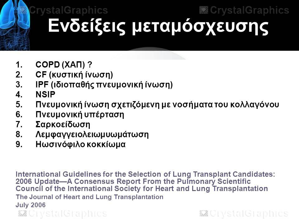 Ενδείξεις μεταμόσχευσης 1.COPD (ΧΑΠ) .