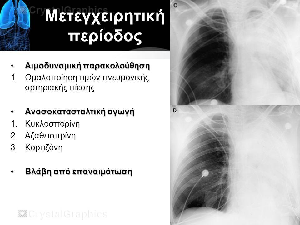 Μετεγχειρητική περίοδος Αιμοδυναμική παρακολούθησηΑιμοδυναμική παρακολούθηση 1.Ομαλοποίηση τιμών πνευμονικής αρτηριακής πίεσης Ανοσοκατασταλτική αγωγήΑνοσοκατασταλτική αγωγή 1.Κυκλοσπορίνη 2.Αζαθειοπρίνη 3.Κορτιζόνη Βλάβη από επαναιμάτωσηΒλάβη από επαναιμάτωση