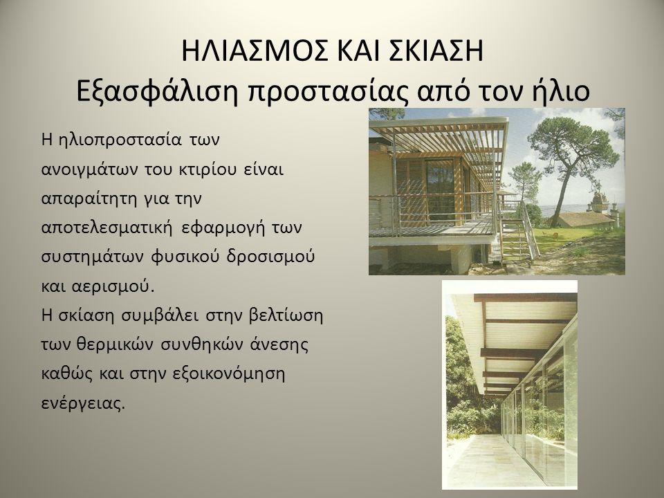 ΗΛΙΑΣΜΟΣ ΚΑΙ ΣΚΙΑΣΗ Εξασφάλιση προστασίας από τον ήλιο Η ηλιοπροστασία των ανοιγμάτων του κτιρίου είναι απαραίτητη για την αποτελεσματική εφαρμογή των συστημάτων φυσικού δροσισμού και αερισμού.