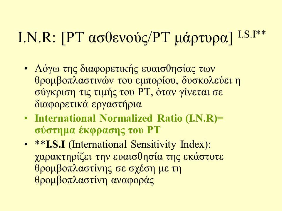 Ι.N.R: [PT ασθενούς/PT μάρτυρα] Ι.S.I** Λόγω της διαφορετικής ευαισθησίας των θρομβοπλαστινών του εμπορίου, δυσκολεύει η σύγκριση τις τιμής του PT, όταν γίνεται σε διαφορετικά εργαστήρια International Normalized Ratio (I.N.R)= σύστημα έκφρασης του PT **I.S.I (International Sensitivity Index): χαρακτηρίζει την ευαισθησία της εκάστοτε θρομβοπλαστίνης σε σχέση με τη θρομβοπλαστίνη αναφοράς