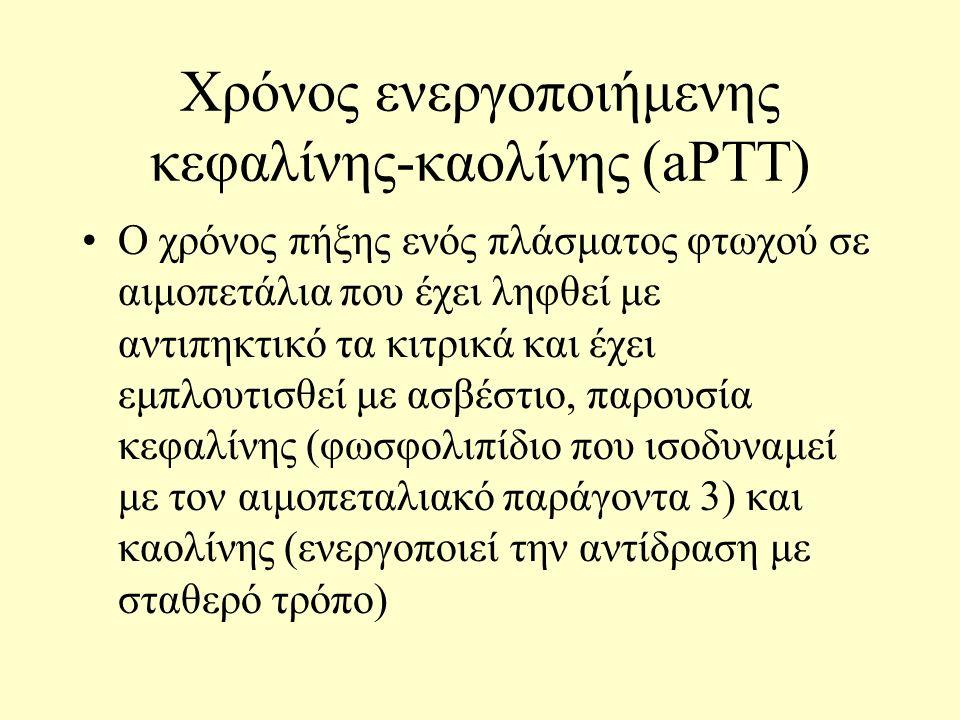 Χρόνος ενεργοποιήμενης κεφαλίνης-καολίνης (aPTT) Ο χρόνος πήξης ενός πλάσματος φτωχού σε αιμοπετάλια που έχει ληφθεί με αντιπηκτικό τα κιτρικά και έχει εμπλουτισθεί με ασβέστιο, παρουσία κεφαλίνης (φωσφολιπίδιο που ισοδυναμεί με τον αιμοπεταλιακό παράγοντα 3) και καολίνης (ενεργοποιεί την αντίδραση με σταθερό τρόπο)