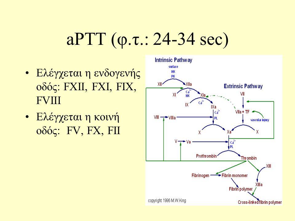 aPTT (φ.τ.: 24-34 sec) Ελέγχεται η ενδογενής οδός: FXII, FXI, FIX, FVIII Ελέγχεται η κοινή οδός: FV, FX, FII