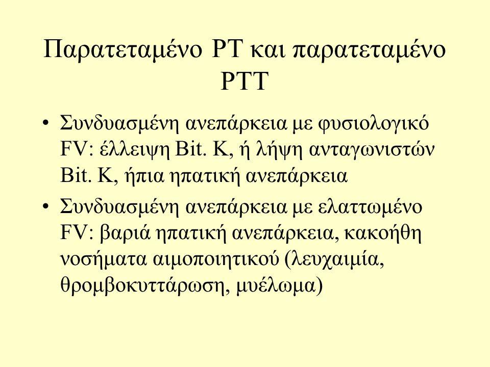 Παρατεταμένο PT και παρατεταμένο PTT Συνδυασμένη ανεπάρκεια με φυσιολογικό FV: έλλειψη Bit.