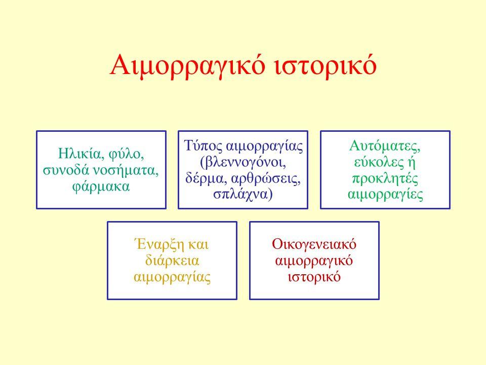 Αιμορραγικό ιστορικό Ηλικία, φύλο, συνοδά νοσήματα, φάρμακα Τύπος αιμορραγίας (βλεννογόνοι, δέρμα, αρθρώσεις, σπλάχνα) Αυτόματες, εύκολες ή προκλητές αιμορραγίες Έναρξη και διάρκεια αιμορραγίας Οικογενειακό αιμορραγικό ιστορικό