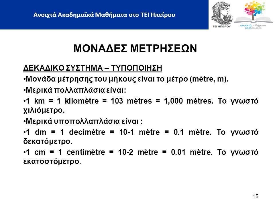 ΜΟΝΑΔΕΣ ΜΕΤΡΗΣΕΩΝ ΔΕΚΑΔΙΚΟ ΣΥΣΤΗΜΑ – ΤΥΠΟΠΟΙΗΣΗ Μονάδα μέτρησης του μήκους είναι το μέτρο (mètre, m).