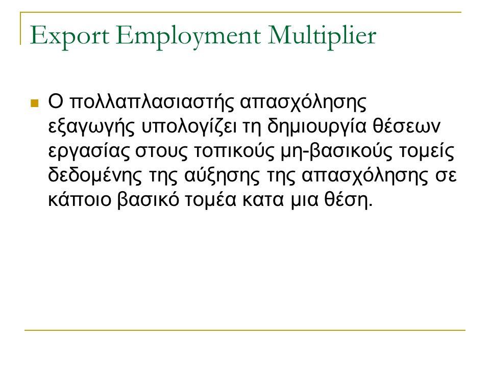 Export Employment Multiplier Ο πολλαπλασιαστής απασχόλησης εξαγωγής υπολογίζει τη δημιουργία θέσεων εργασίας στους τοπικούς μη-βασικούς τομείς δεδομένης της αύξησης της απασχόλησης σε κάποιο βασικό τομέα κατα μια θέση.