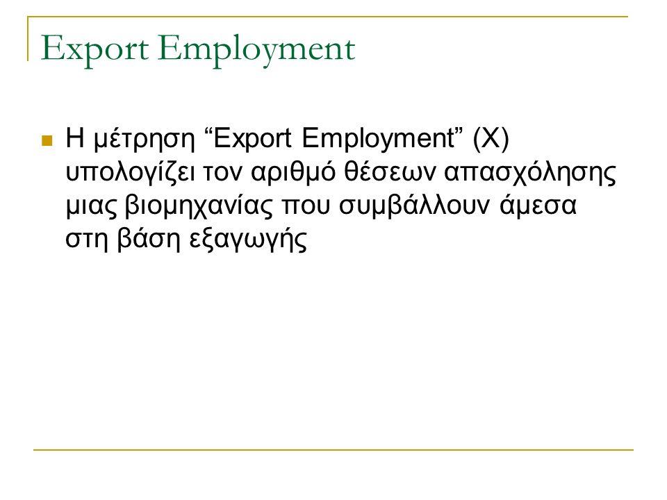Export Employment Η μέτρηση Export Employment (X) υπολογίζει τον αριθμό θέσεων απασχόλησης μιας βιομηχανίας που συμβάλλουν άμεσα στη βάση εξαγωγής