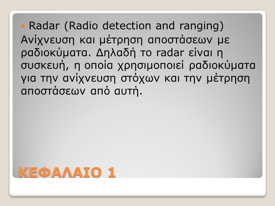 Δέσμες ακτινοβολίας Η κεραία του radar ακτινοβολεί ραδιοκύματα στο χώρο συγκεντρωμένα σε δέσμη.