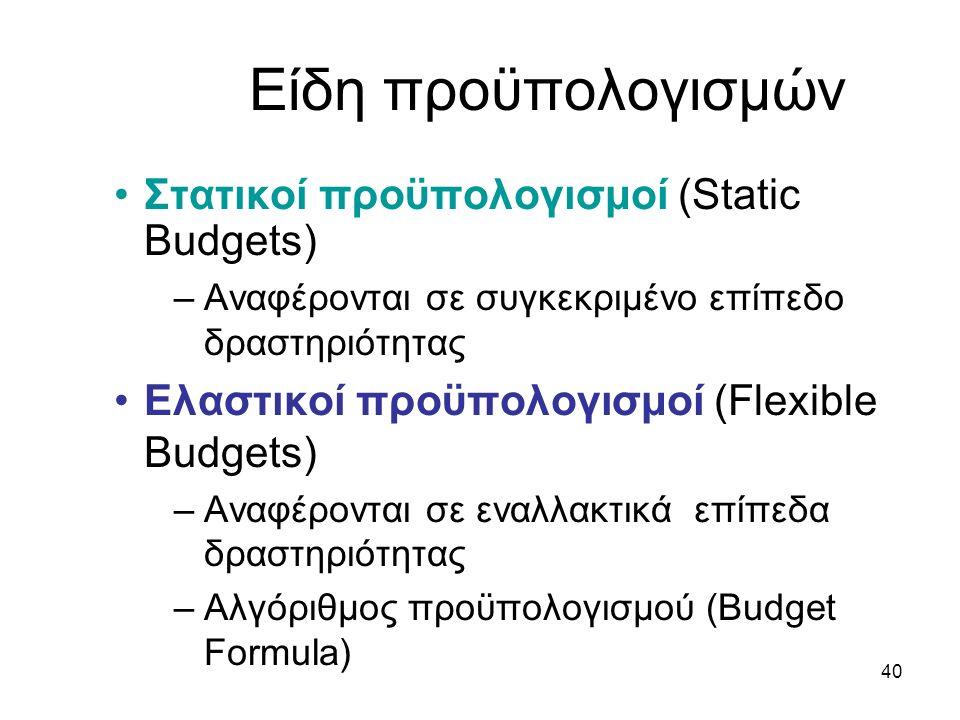 40 Είδη προϋπολογισμών Στατικοί προϋπολογισμοί (Static Budgets) –Αναφέρονται σε συγκεκριμένο επίπεδο δραστηριότητας Ελαστικοί προϋπολογισμοί (Flexible