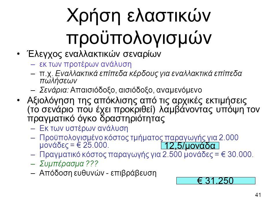 41 Χρήση ελαστικών προϋπολογισμών Έλεγχος εναλλακτικών σεναρίων –εκ των προτέρων ανάλυση –π.χ. Εναλλακτικά επίπεδα κέρδους για εναλλακτικά επίπεδα πωλ