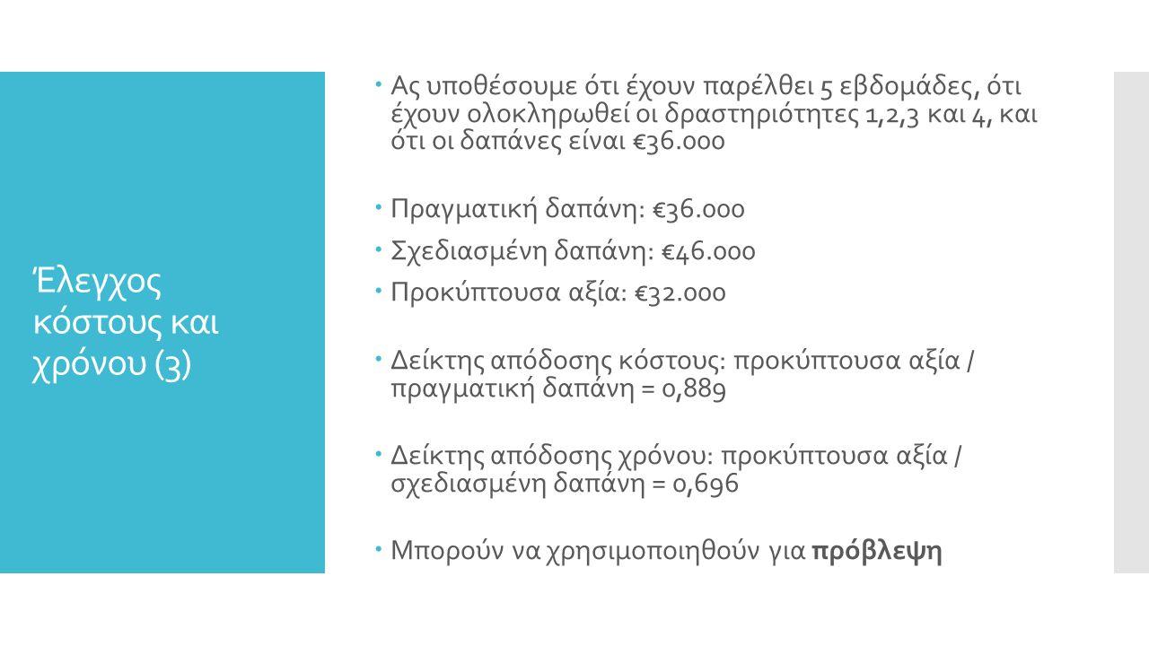 Έλεγχος κόστους και χρόνου (3)  Ας υποθέσουμε ότι έχουν παρέλθει 5 εβδομάδες, ότι έχουν ολοκληρωθεί οι δραστηριότητες 1,2,3 και 4, και ότι οι δαπάνες είναι €36.000  Πραγματική δαπάνη: €36.000  Σχεδιασμένη δαπάνη: €46.000  Προκύπτουσα αξία: €32.000  Δείκτης απόδοσης κόστους: προκύπτουσα αξία / πραγματική δαπάνη = 0,889  Δείκτης απόδοσης χρόνου: προκύπτουσα αξία / σχεδιασμένη δαπάνη = 0,696  Μπορούν να χρησιμοποιηθούν για πρόβλεψη