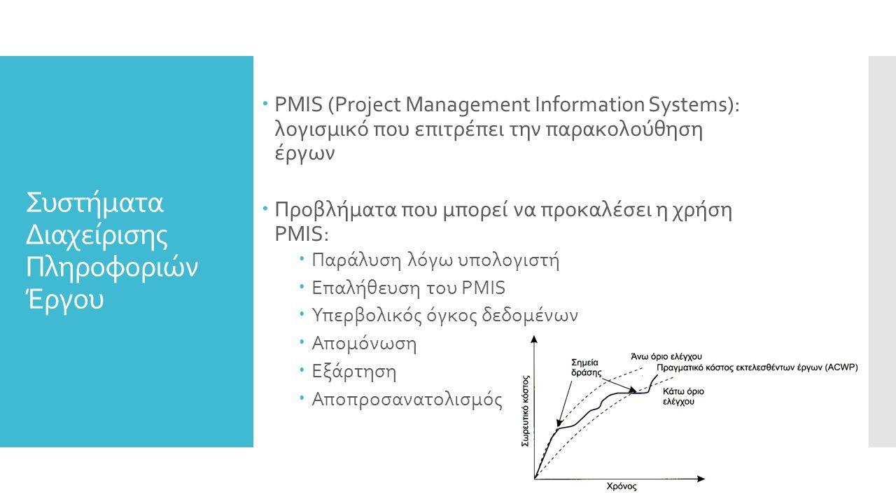Συστήματα Διαχείρισης Πληροφοριών Έργου  PMIS (Project Management Information Systems): λογισμικό που επιτρέπει την παρακολούθηση έργων  Προβλήματα που μπορεί να προκαλέσει η χρήση PMIS:  Παράλυση λόγω υπολογιστή  Επαλήθευση του PMIS  Υπερβολικός όγκος δεδομένων  Απομόνωση  Εξάρτηση  Αποπροσανατολισμός