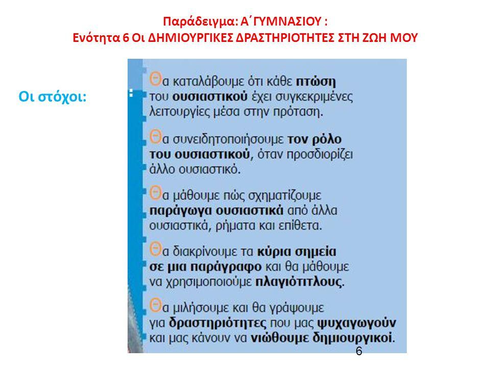 Παράδειγμα: Α΄ΓΥΜΝΑΣΙΟΥ : Ενότητα 6 Οι ΔΗΜΙΟΥΡΓΙΚΕΣ ΔΡΑΣΤΗΡΙΟΤΗΤΕΣ ΣΤΗ ΖΩΗ ΜΟΥ Οι στόχοι: 6