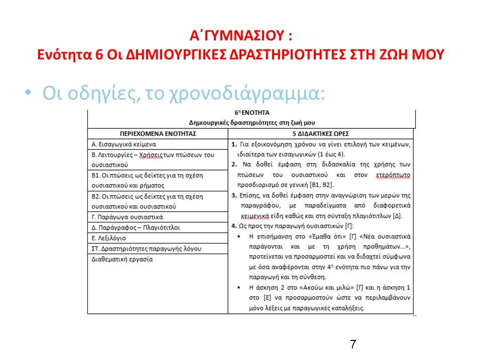 Α΄ΓΥΜΝΑΣΙΟΥ : Ενότητα 6 Οι ΔΗΜΙΟΥΡΓΙΚΕΣ ΔΡΑΣΤΗΡΙΟΤΗΤΕΣ ΣΤΗ ΖΩΗ ΜΟΥ Οι οδηγίες, το χρονοδιάγραμμα: 7