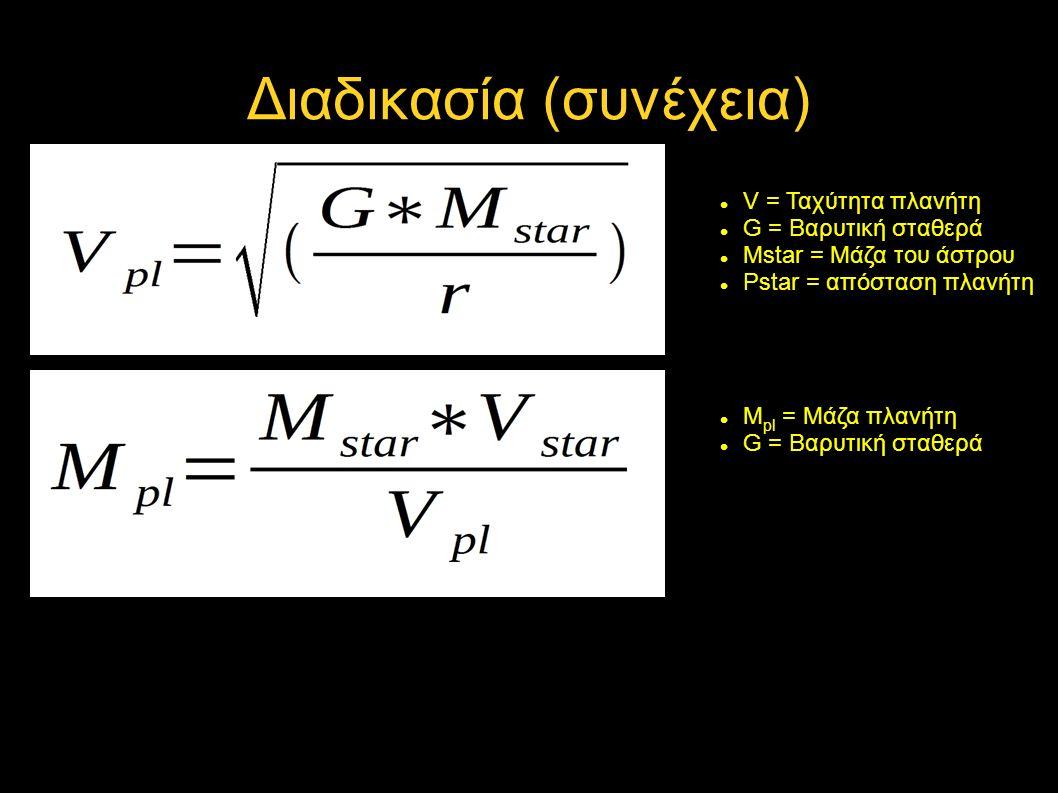 Διαδικασία (συνέχεια) V = Ταχύτητα πλανήτη G = Βαρυτική σταθερά Mstar = Μάζα του άστρου Pstar = απόσταση πλανήτη M pl = Μάζα πλανήτη G = Βαρυτική σταθερά