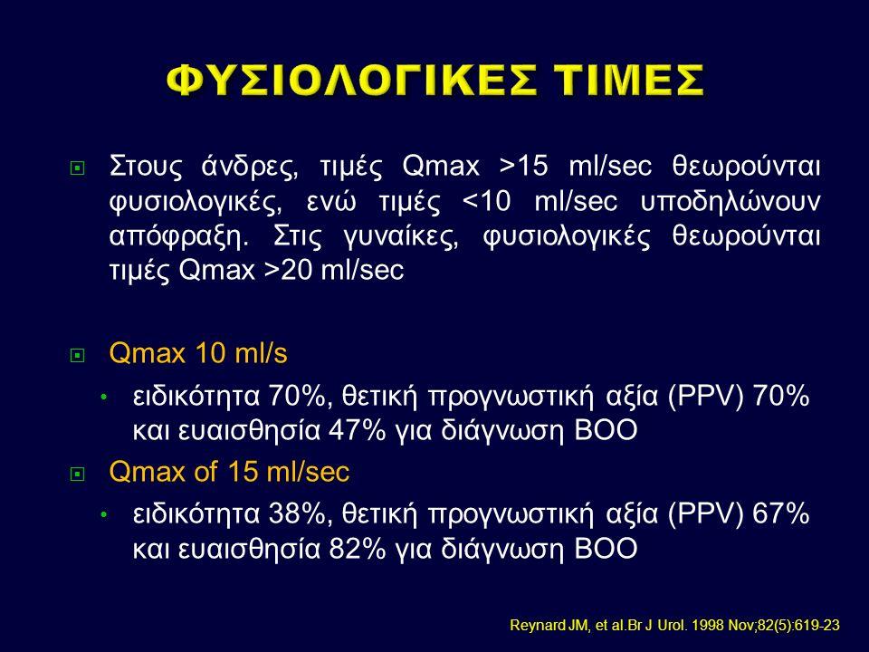  Στους άνδρες, τιμές Qmax >15 ml/sec θεωρούνται φυσιολογικές, ενώ τιμές 20 ml/sec  Qmax 10 ml/s ειδικότητα 70%, θετική προγνωστική αξία (PPV) 70% και ευαισθησία 47% για διάγνωση BOO  Qmax of 15 ml/sec ειδικότητα 38%, θετική προγνωστική αξία (PPV) 67% και ευαισθησία 82% για διάγνωση BOO Reynard JM, et al.Br J Urol.