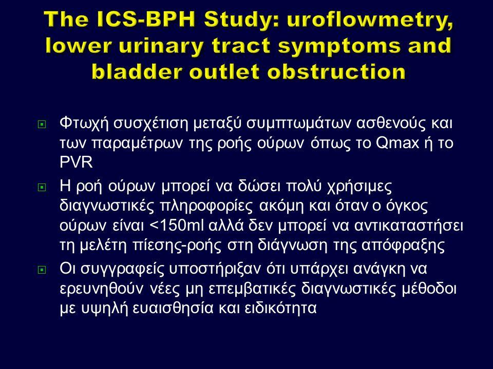  Φτωχή συσχέτιση μεταξύ συμπτωμάτων ασθενούς και των παραμέτρων της ροής ούρων όπως το Qmax ή το PVR  Η ροή ούρων μπορεί να δώσει πολύ χρήσιμες διαγνωστικές πληροφορίες ακόμη και όταν ο όγκος ούρων είναι <150ml αλλά δεν μπορεί να αντικαταστήσει τη μελέτη πίεσης-ροής στη διάγνωση της απόφραξης  Οι συγγραφείς υποστήριξαν ότι υπάρχει ανάγκη να ερευνηθούν νέες μη επεμβατικές διαγνωστικές μέθοδοι με υψηλή ευαισθησία και ειδικότητα