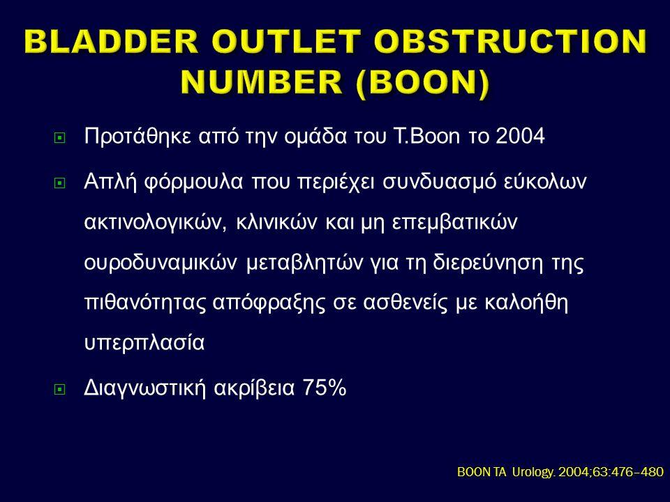  Προτάθηκε από την ομάδα του Τ.Boon το 2004  Απλή φόρμουλα που περιέχει συνδυασμό εύκολων ακτινολογικών, κλινικών και μη επεμβατικών ουροδυναμικών μεταβλητών για τη διερεύνηση της πιθανότητας απόφραξης σε ασθενείς με καλοήθη υπερπλασία  Διαγνωστική ακρίβεια 75% BOON TA Urology.
