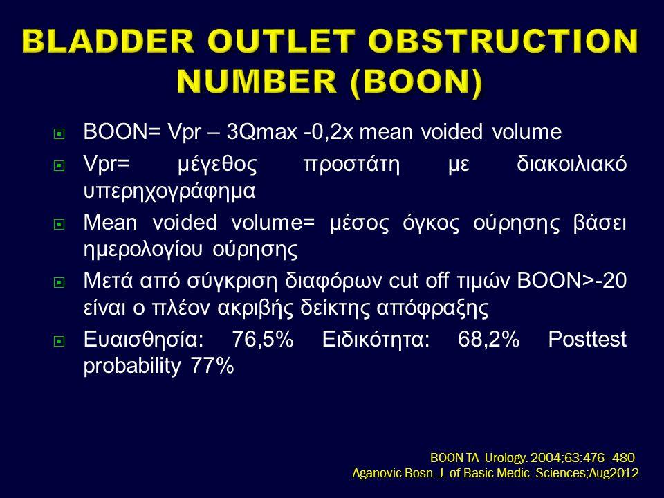  BOON= Vpr – 3Qmax -0,2x mean voided volume  Vpr= μέγεθος προστάτη με διακοιλιακό υπερηχογράφημα  Mean voided volume= μέσος όγκος ούρησης βάσει ημερολογίου ούρησης  Μετά από σύγκριση διαφόρων cut off τιμών BOON>-20 είναι ο πλέον ακριβής δείκτης απόφραξης  Ευαισθησία: 76,5% Ειδικότητα: 68,2% Posttest probability 77% BOON TA Urology.