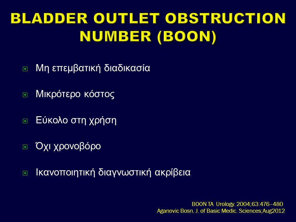  Μη επεμβατική διαδικασία  Μικρότερο κόστος  Εύκολο στη χρήση  Όχι χρονοβόρο  Ικανοποιητική διαγνωστική ακρίβεια BOON TA Urology.
