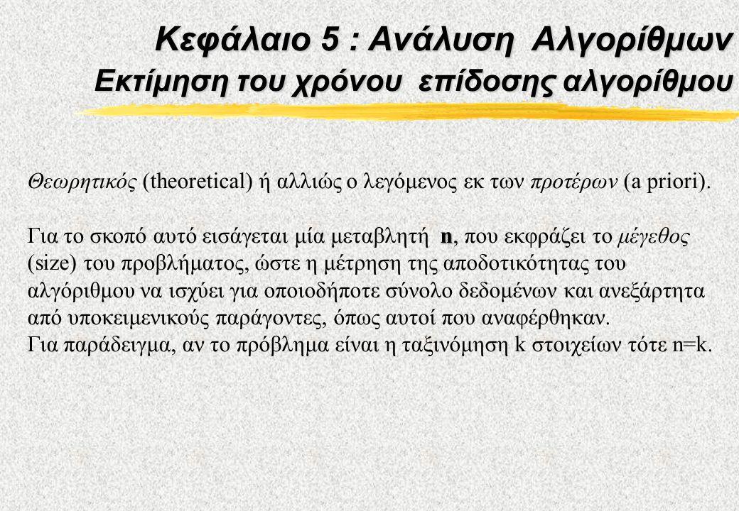 Κεφάλαιο 5 : Ανάλυση Αλγορίθμων Εκτίμηση του χρόνου επίδοσης αλγορίθμου Θεωρητικός (theoretical) ή αλλιώς ο λεγόμενος εκ των προτέρων (a priori). n Γι