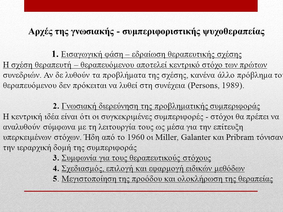 Αρχές της γνωσιακής - συμπεριφοριστικής ψυχοθεραπείας 1.