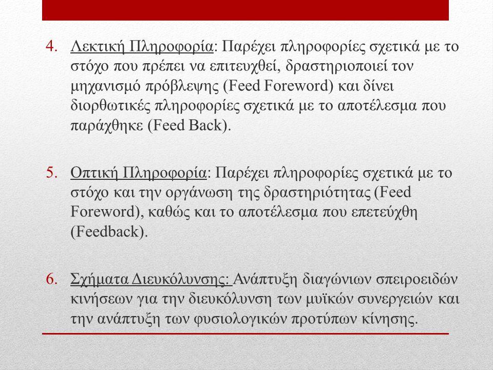 4.Λεκτική Πληροφορία: Παρέχει πληροφορίες σχετικά με το στόχο που πρέπει να επιτευχθεί, δραστηριοποιεί τον μηχανισμό πρόβλεψης (Feed Foreword) και δίνει διορθωτικές πληροφορίες σχετικά με το αποτέλεσμα που παράχθηκε (Feed Back).