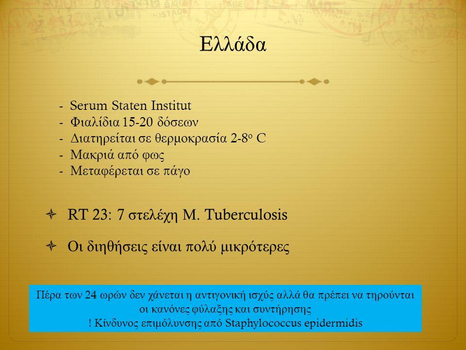 E λλάδα  RT 23: 7 στελέχη Μ. Tuberculosis  Οι διηθήσεις είναι π ολύ μικρότερες - Serum Staten Institut - Φιαλίδια 15-20 δόσεων - Διατηρείται σε θερμ