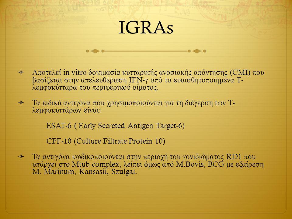 IGRAs  Α π οτελεί in vitr ο δοκιμασία κυτταρικής ανοσιακής α π άντησης (CMI) π ου βασίζεται στην α π ελευθέρωση IFN- γ α π ό τα ευαισθητο π οιημένα Τ