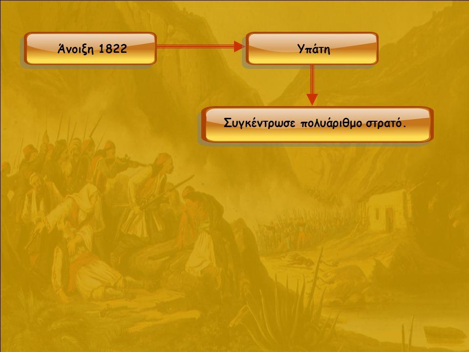 Άργος Μύλοι Κόρινθος Δερβενάκια Αγιονόρι Πιστεύοντας ότι ο στόχος του Δράμαλη ήταν η Τρίπολη, φρόντισε να κλειστούν όλες οι διαβάσεις προς εκεί και δημιουργήθηκε στρατόπεδο στους Μύλους (έξω από το Άργος) με 2.000 άνδρες.