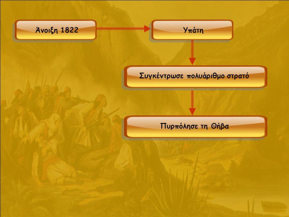Άνοιξη 1822Υπάτη Συγκέντρωσε πολυάριθμο στρατό Πυρπόλησε τη Θήβα