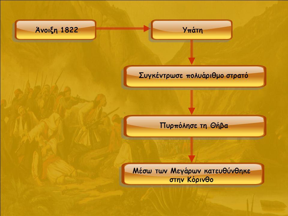 Άνοιξη 1822Υπάτη Συγκέντρωσε πολυάριθμο στρατό Πυρπόλησε τη Θήβα Μέσω των Μεγάρων κατευθύνθηκε στην Κόρινθο