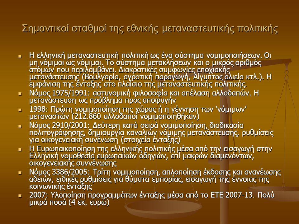 Σημαντικοί σταθμοί της εθνικής μεταναστευτικής πολιτικής Η ελληνική μεταναστευτική πολιτική ως ένα σύστημα νομιμοποιήσεων.