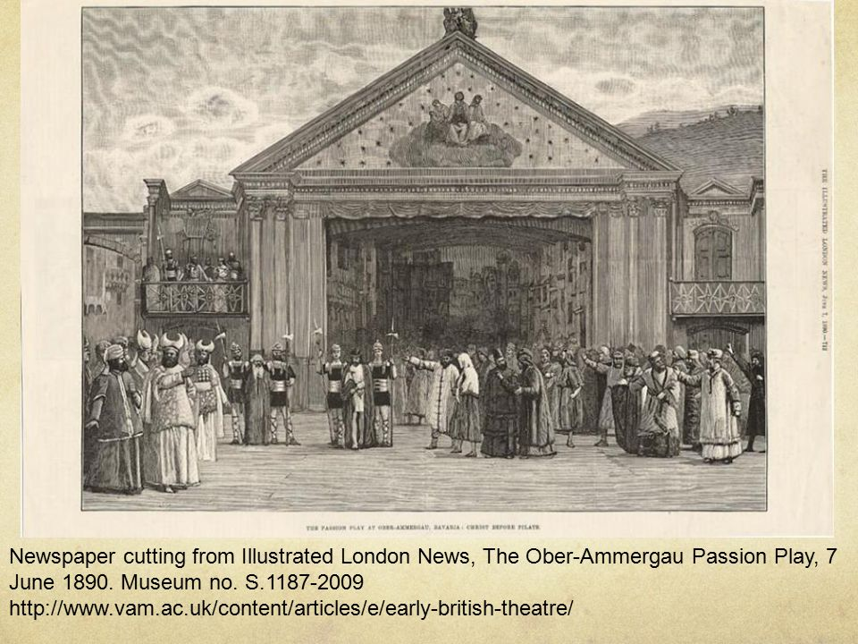 Newspaper cutting from Illustrated London News, The Ober-Ammergau Passion Play, 7 June 1890.