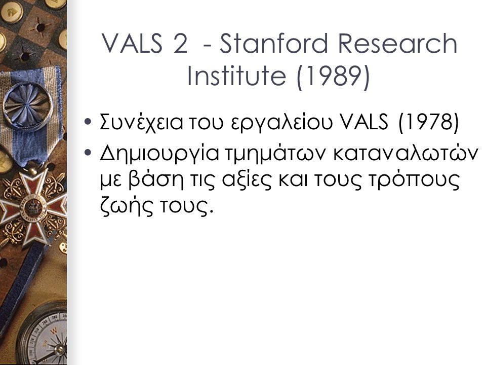 VALS 2 - Stanford Research Institute (1989) Συνέχεια του εργαλείου VALS (1978) Δημιουργία τμημάτων καταναλωτών με βάση τις αξίες και τους τρόπους ζωής τους.