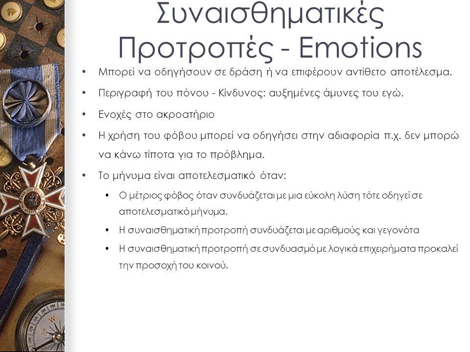 Συναισθηματικές Προτροπές - Emotions Μπορεί να οδηγήσουν σε δράση ή να επιφέρουν αντίθετο αποτέλεσμα.